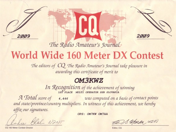 CQ WW 160m DX 2009