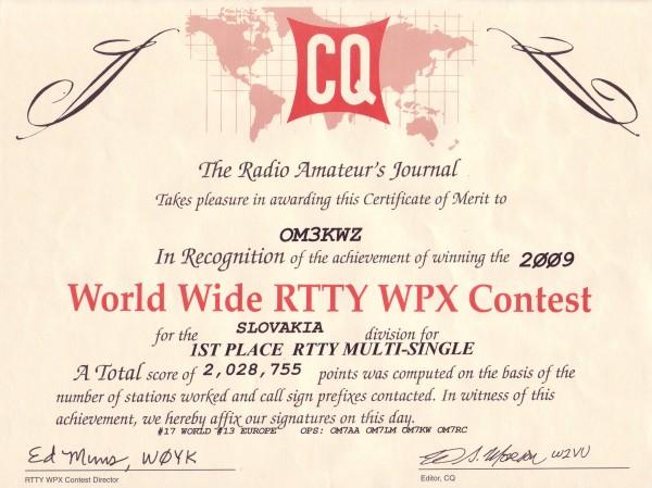 CQ WW RTTY WPX 2009